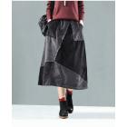 Вельветовая лоскутная юбка (черная)
