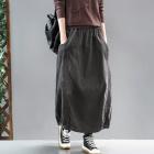 Вельветовая юбка с потертостями (серый)