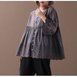 Расклешенная блузка на пуговицах (серый)