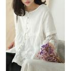 Расклешенная блузка на пуговицах (белый)