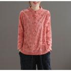 Блузка с фактурными цветами (розовый)