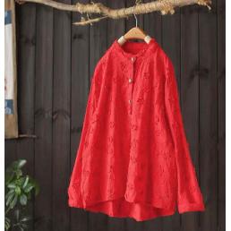 Блузка с фактурными цветами (красный)