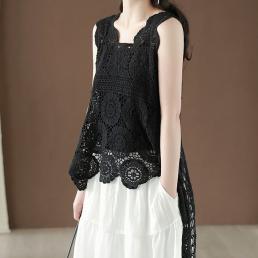 Ассиметричная ажурная жилетка (черный)