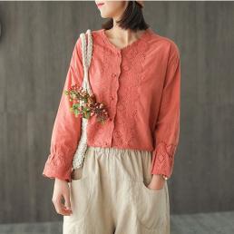 Нежная хлопковая блузка (персиковый)