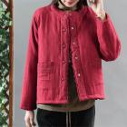 Утепленный пиджак с ажурным декором (красный)