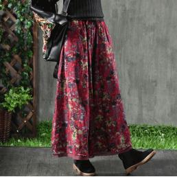 Многослойная хлопковая юбка (красный)
