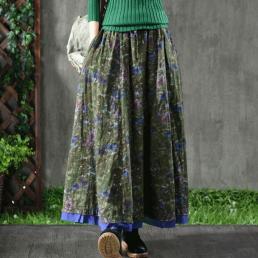 Многослойная хлопковая юбка (зеленый)