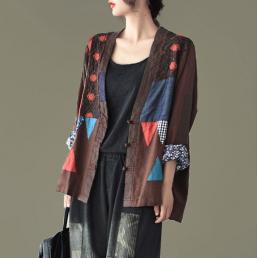 Хлопковый пиджак на китайских пуговицах (коричневый)