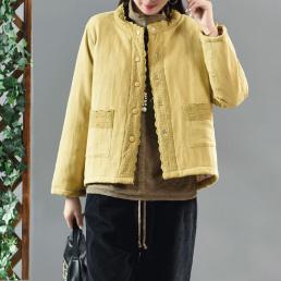 Утепленный пиджак с ажурным декором (желтый)