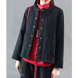 Утепленный пиджак с ажурным декором (черный)