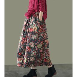 Теплая юбка с цветами (черный)