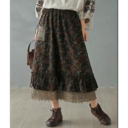 Двухслойная юбка с вязанным карманом