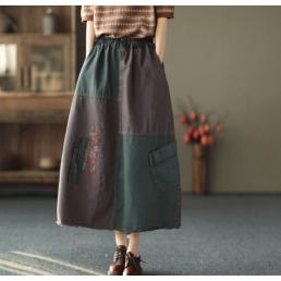 Комбинированная юбка с легкой бахромой (зеленый)