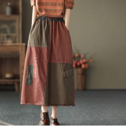 Комбинированная юбка с легкой бахромой (красный)