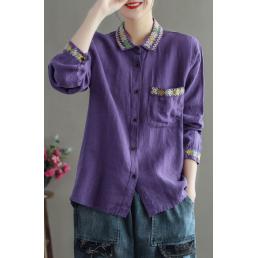 Льняная рубашка с вышивкой на воротнике (сиреневый)