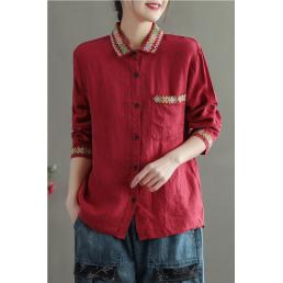 Льняная рубашка с вышивкой на воротнике (красный)