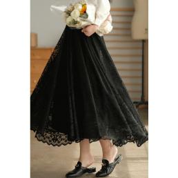 Двуслойная ажурная юбка (черный)