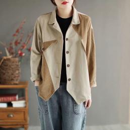 Ассиметричный комбинированный пиджак (бежевый)