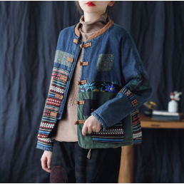 Пиджак бохо с китайскими пуговицами (синий)