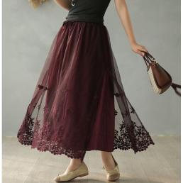 Двуслойная юбка с кружевом (фиолетовый)